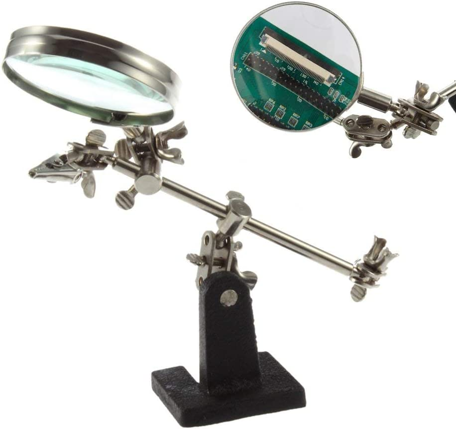 Amerryllis Third Hand Soldering Iron Stand Helping Magnifying Clip Tool Desktop Magnifier Jewelry Repair Magnifying Glass Appliance