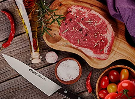 Arcos Serie Natura, Cuchillo Cocinero, Hoja de Acero Inoxidable Forjado Nitrum 200 mm, Mango de Madera Palisandro color Marrón