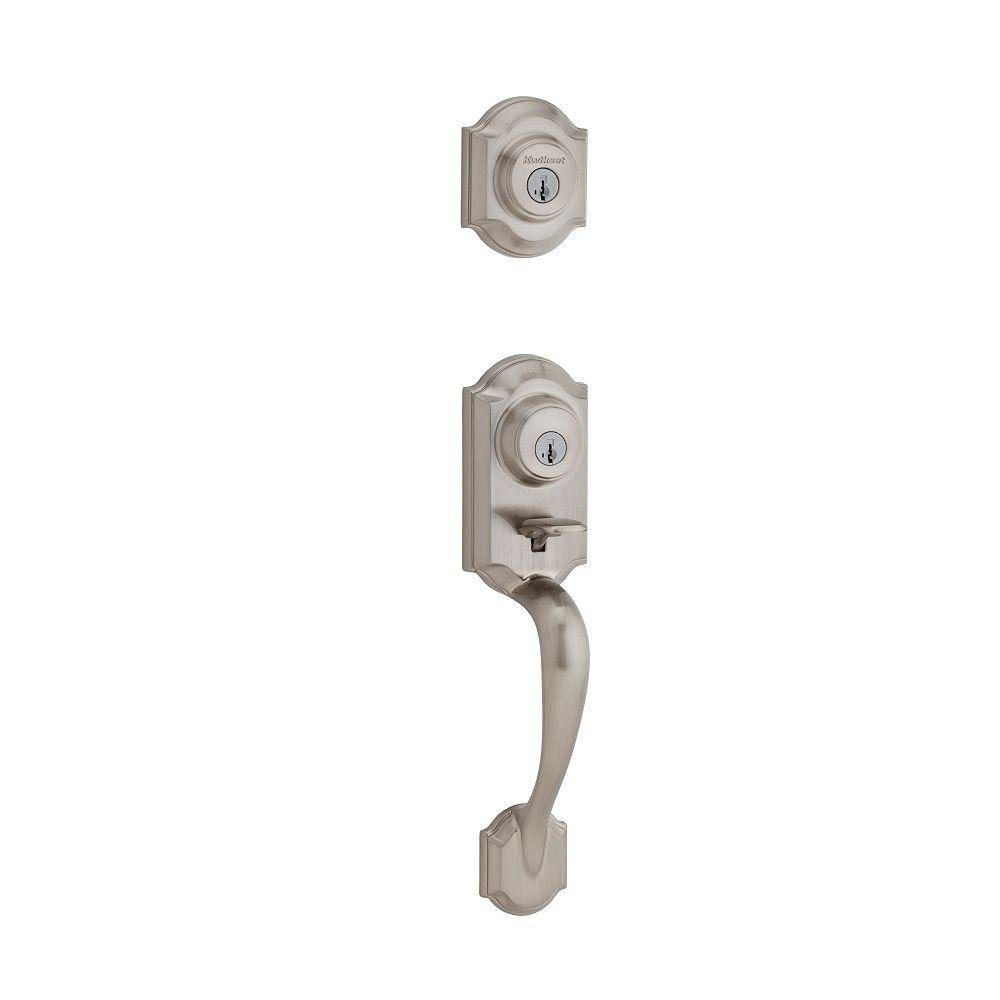 Kwikset 554MNH LIP 15 SMT 6AL RCS Two-Point Locking Double Cylinder Handleset with Exterior Hardware, Satin Nickel