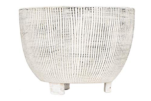 - Creative Co-op Large Distressed Cream Footed Terracotta Fluted Texture Planter, 7.75 Inch Round,