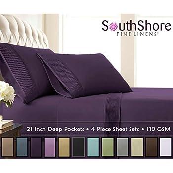 Southshore Fine Linens - 3 Piece - Extra Deep Pocket Pleated Sheet Set, Twin XL, Purple