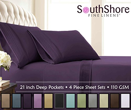 Southshore Fine Linens - 4 Piece - Extra Deep Pocket Pleated Sheet Set, Queen, Purple ()