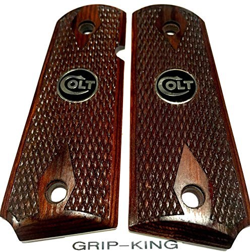 1911 COMPACT GRIPS.SALE $43.73.FITS 3-4 INCH BARREL COLT OFFICERS,DEFENDERS. MADE IN U.S.A. RARE BURLED COCOBOLO WOOD WITH DIAMONDS & SNAKESKIN PATTERN CHECKERING. BLACK & SILVER COLT MEDALLIONS .