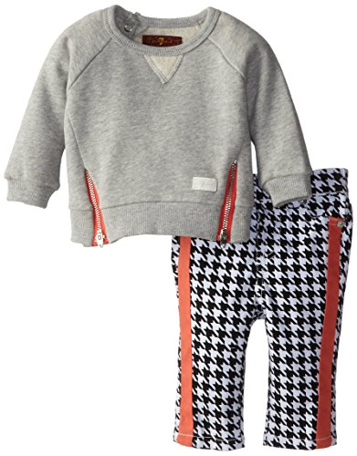 Seven for All Mankind Baby-Girls Newborn Skinny with Zip Top, Black Hounds Tooth, 0-3 - Zip Hound