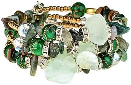 XIANNU Pulseras para Mujer,Mujer Bohemia Multicapa Perlas Verdes Encanto Pulseras Vintage Resina Pulseras Ajustables de Piedra Brazaletes Joyas étnicas