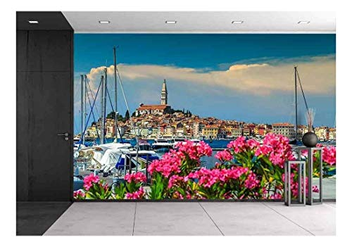 wall26 - Wonderful Romantic Old Town of Rovinj with Beautiful Pink Oleander Flowers,Istrian Peninsula,Croatia,Europe - Removable Wall Mural | Self-Adhesive Large Wallpaper - 100x144 inches