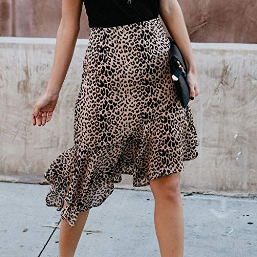 Lavany  Women's Ruffles Skirts Sexy Leopard Print Zipper Knee Length Skirt for Girl Brown by Lavany  (Image #1)