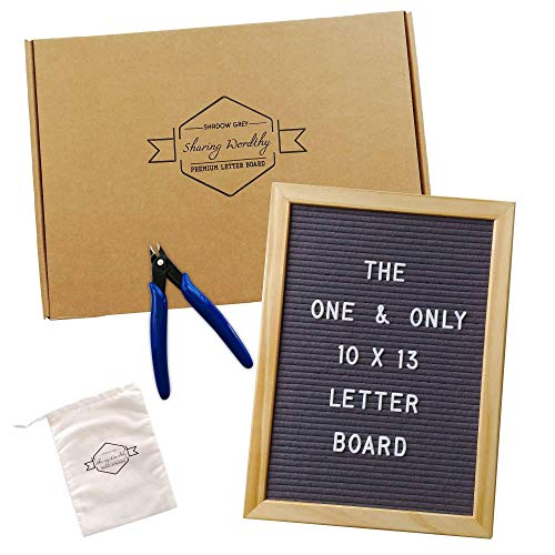 Gray Felt Letter Board | 10x13 Retro Message Board |  Baby Announcement Sign | Solid Wood Frame | 346 Letters Numbers Symbols Emojis | Bonus Cutter & Storage Bag