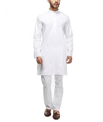 Royal Kurta Mens White 100% Cotton Kurta Pyjama Set  Amazon.in ... 2898c3e1e