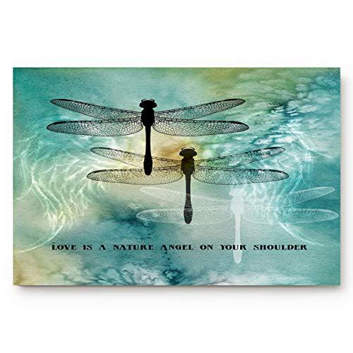 Welcome Doormat Entrance Floor Mat Rug Indoor/Front Door/Bathroom/Kitchen/Living Room/Bedroom Mats Non Slip - Love is A Nature Angel On Your Shoulder Ink Dtyle Dragonfly Painting 18 x 30 inch Large