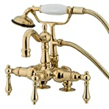 Kingston Brass CC1013T2 Heritage Vintage 3-3/8-Inch Leg Tub Filler with Hand Shower, Polished Brass