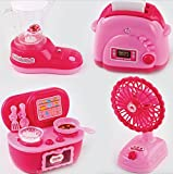 Fun Little Toys Home Mini Appliances Kitchen Stove Oven Toaster Water Dispenser Fan Set 4 Pcs Batteries Included