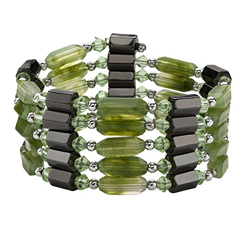 Magnetic Wrap Necklace Bracelet (Green Lucite and Black Beaded Magnetic Hematite Silvertone Necklace/Bracelet 36