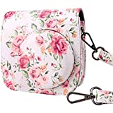 Wolven Protective Case Bag Purse for Fujifilm Instax Mini 8,Mini 8+,Mini 9 Camera, White Vintage Flower Floral