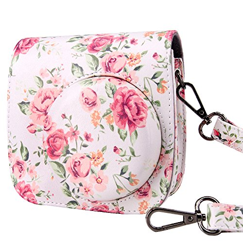 Galaxy Vintage Shoulder Bag (Fujifilm Instax Mini 8 / Mini 8+ / Mini 9 Case Bag - Wolven Designed Fujifilm Instax Mini 8 / Mini 8+ / Mini 9 Case Bag Purse - White Vintage Flower Floral)