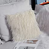 Ojia Deluxe Home Decorative Super Soft Plush Mongolian Faux Fur Throw Pillow Cover Cushion Case (20 x 20 Inch,Cream White)