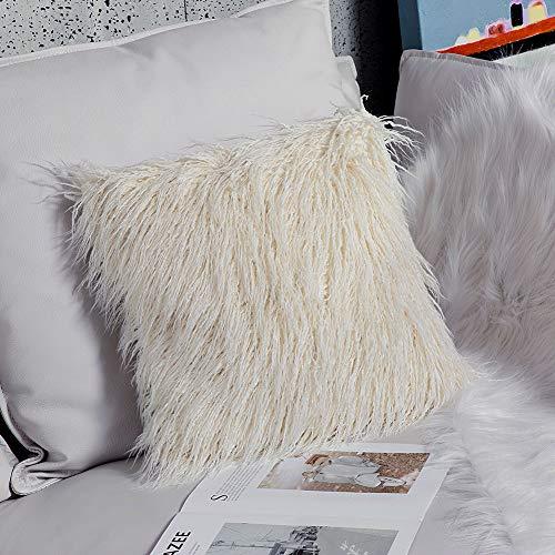 Ojia Deluxe Home Decorative Super Soft Plush Mongolian Faux Fur Throw Pillow Cover Cushion Case (24 x 24 Inch, Cream White)