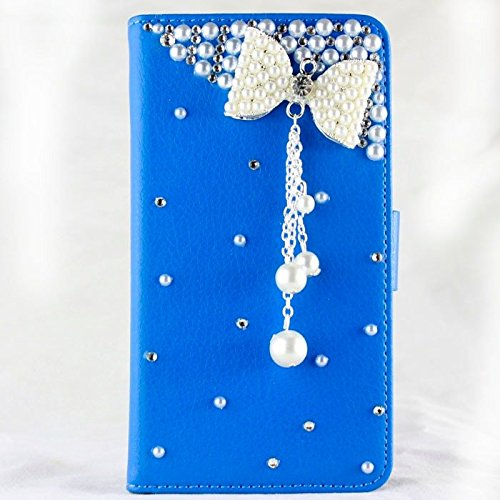 [ Motorola moto G4 play Case ] Luxury 3D bling diamond Rhinestone crystal wallet ( two card slots & one money pocket )(Blue leather pearl bow)