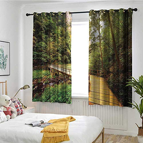 MaryMunger Apartment Decor Thermal Insulating Blackout Curtains Wooden Bridge Over Mountain River Among Trees and Rocks in The Zhangjiajie Forest Park Great for Living Rooms & Bedrooms W 63