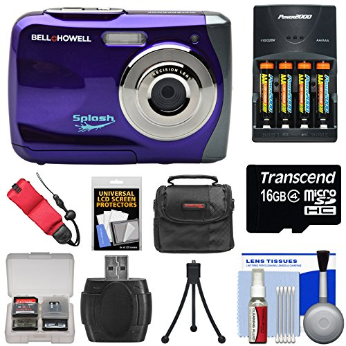 Bell & Howell Splash WP7 Waterproof Digital Camera (Purple) with Batteries & Charger + 16GB Card + Case + Kit by Bell + Howell
