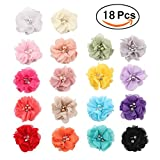 "Sufermee 18 Pcs 2"" Baby Girls Alligator Hair Clips Chiffon Flower with Rhinestone Pearl Hair Barrettes Hair Accessories for Toddlers Girls Teens Kids"