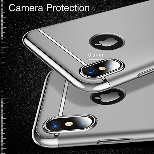 iPhone X Case, TORRAS [Lock Series] 3 in 1 Hybrid Hard Plastic Case Ultra Thin and Slim Anti-scratch Matte Finish Cover Case for Apple iPhone X - Silver Photo #3