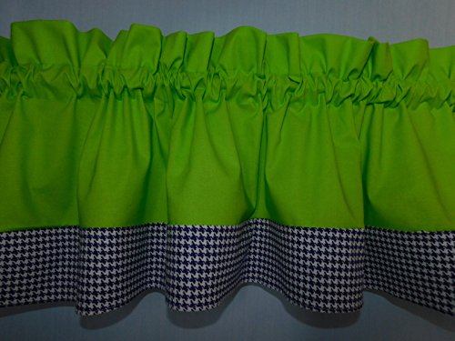 Solid lime green and purple violet hounds-tooth valance. Kids Window treatment decor, laundry room , Baby , school centers.