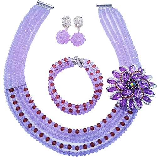 Beaded Set Jewelry Set - aczuv 5 Rows Nigerian Beaded Jewelry Set Women African Wedding Beads Crystal Necklace and Earrings (Lilac and Dark Purple)