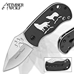 Timber Wolf Pack Leader Assisted Opening Pocket Knife/Folder - Silver Blade Finish, Paw Print Cutout, Flipper, Liner Lock - Black Anodized Handle Howling Wolves Full Moon; Pocket Clip, Lanyard Hole