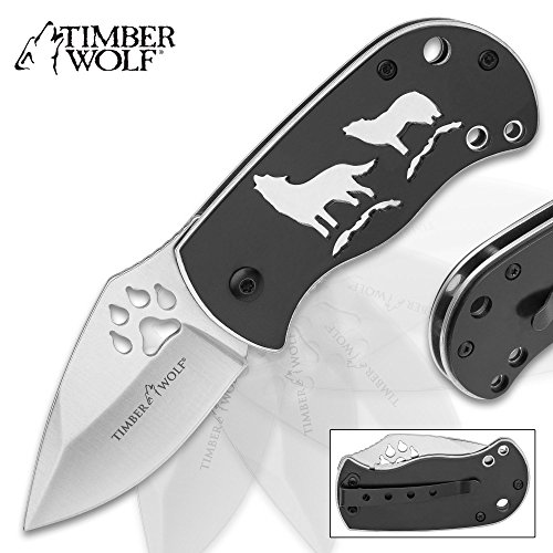 Timber Wolf Pack Leader Assisted Opening Pocket Knife/Folder - Silver Blade Finish, Paw Print Cutout, Flipper, Liner Lock - Black Anodized Handle Howling Wolves Full Moon; Pocket Clip, Lanyard (Timber Folder)