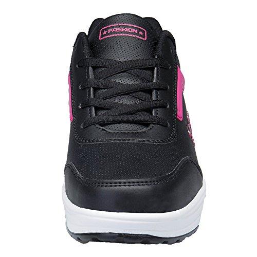 Ginnastica Outdoor Sneakers Scarpe Rosa Fitness Zeppa Stringate KUAIKUHEI Sportive da Casual Donna Tennis Nera Running Piattaforma Heeled 6tZ5xqwPx