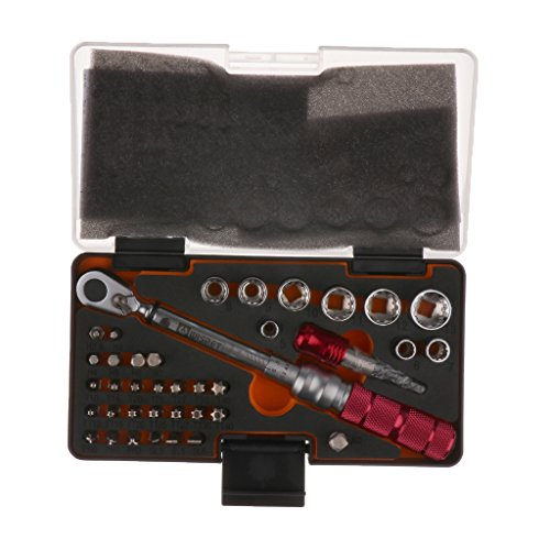 MonkeyJack 38 Pieces 1-10Nm 1/4'' Adjustable Torque Wrench Drive Click Ratchet Spanner Tools with Case by MonkeyJack (Image #3)