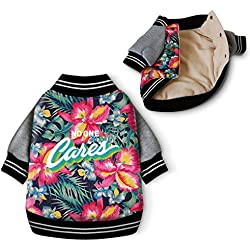 Hawaii Style Winter Pet Parka Coat Cothes Cotton Padded Warm Dog Clothing Fashion Flower Print Autumn Sweatshirt (XL)