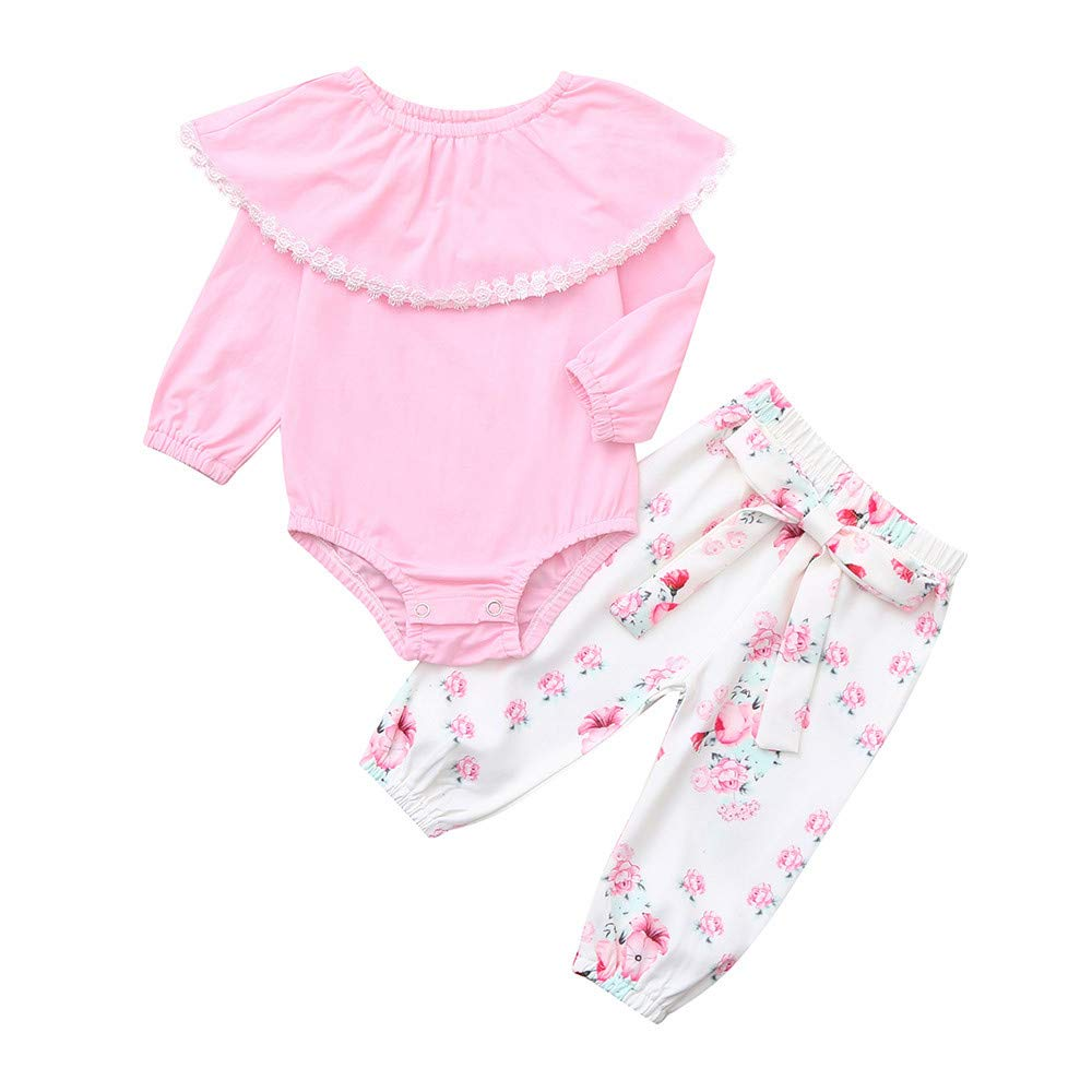 2Pcs Baby Girls Outfits Set, Zerototens Toddler Infant Girls Long Sleeve Solid Ruffle Romper Floral Print Pants Girl Clothing Set Cotton Pajamas 0-24 Months
