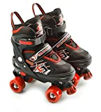 UK 2 - 4 Red Medium Childs Adults 4 Wheel Kids Adjustable Quad Roller Skates Boots
