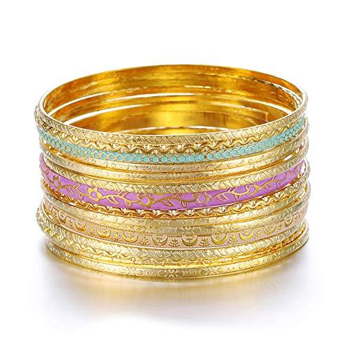 ENSOUL Shiny Gold W/Lilac Blue Multiple Metal Bracelets & Bangles Set for Women 15Pcs/Set ()