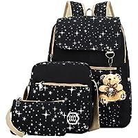 ABage Girls' Canvas Backpack Set 3 Pieces Patterned Bookbag Laptop School Backpack