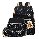 ABage Girls' Canvas Backpack Set 3 Pieces Patterned Bookbag Laptop School Backpack, Black