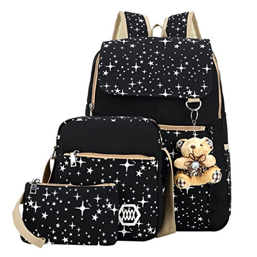 ABage Girls' Canvas Backpack Set 3 Pieces Patterned Bookbag Laptop School Backpack, Black (3 Backpack)