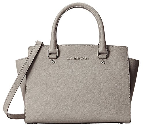 (Michael Kors Selma Medium Top Zip Satche PEARL GREY )