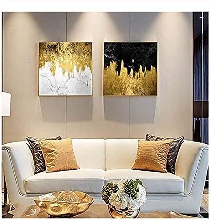 Liwendi Peinture Dorée Coulante Toile Peinture Salon Chambre