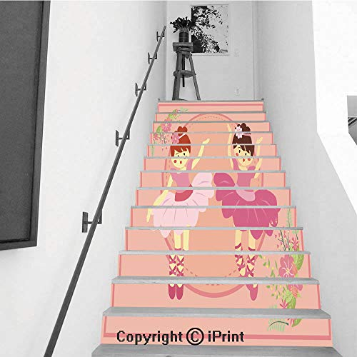 Stair Stickers Wall Stickers,13 PCS Self-Adhesive,Stair Riser Decal for Living Room, Hall, Kids Room,Duo Cute Pink Ballerina Girl