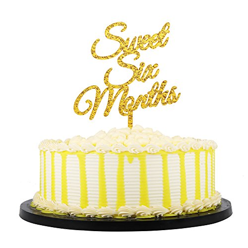 PALASASA Gold Glittery Acrylic sweet six months Cake Toppers,Wedding,Birthday,Anniversary Party Decorations