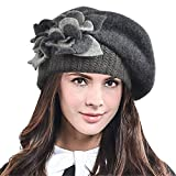 Womens Artist French Beret Hat Lady Elegant Floral 100% Wool Felt Beret Winter Gray