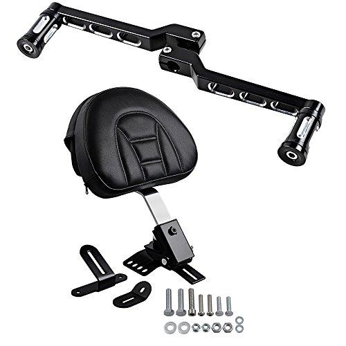 (Black PU Leather Adjustable Rider Backrest Zipper Pad w/Pocket Kit + Set Front&Rear CNC Aluminum Toe/Heel Shift Lever Shifter Peg Compatible with 1997-2017 Harley Touring )