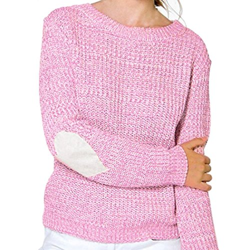 Napoo Women Pullover Sweatshirt, Hearted Print Sleeve Loose Knitted Sweater Knitwear (XL, Pink) (Acrylic Blend Knitwear)