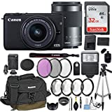 Canon EOS M10 Mirrorless Digital Camera with EF-M 15-45mm f/3.5-6.3 & EF-M 55-200mm f/4.5-6.3 IS STM Bundle Black + Canon Gadget Bag + 32GB Memory + Professional Accessories - Filters, Macros & More.