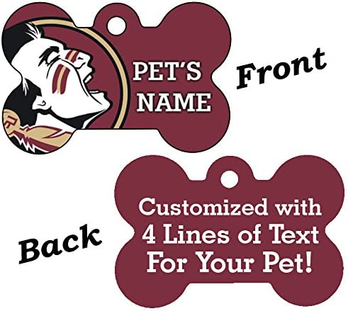uDesignUSA NCAA Double Sided Pet Id Dog Tag Personalized with 4 Lines of Text