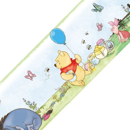 Disney Winnie Pooh Balloons Set of 4 Self-Stick Wall Borders (The Winnie Border Disney Wallpaper Pooh)