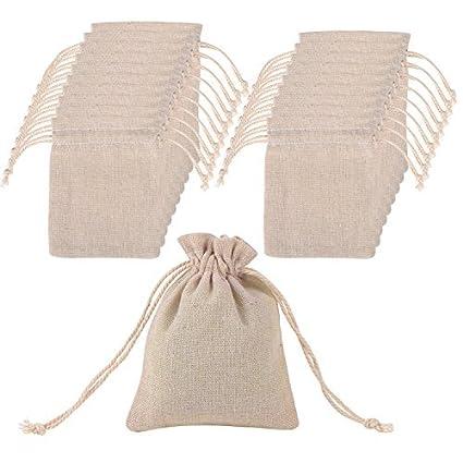 Lvcky 20 Bolsas de Muselina de algodón con cordón para Boda ...